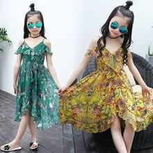 Girls Dresses Summer 2018 New Flower Print Beach Chiffon Dress Kids Girls Bohemian Dress Children Clothes Big Girls Vestidos