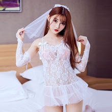 Womens Bride Bridesmaid Lace Dress Gloves and Head Piece Babydoll Lingerie Set Hen Night Party Costume Wedding White Sleepwear