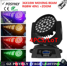 4PCS/ led 36X10W zoom moving beam lights rgbw 4in1 led moving wash lights, stage professional dj equipment