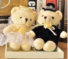 20cm 2pcs/lot Stuffed Dolls Couple of Bears Wedding Teddy Gifts for Children Plush Toys