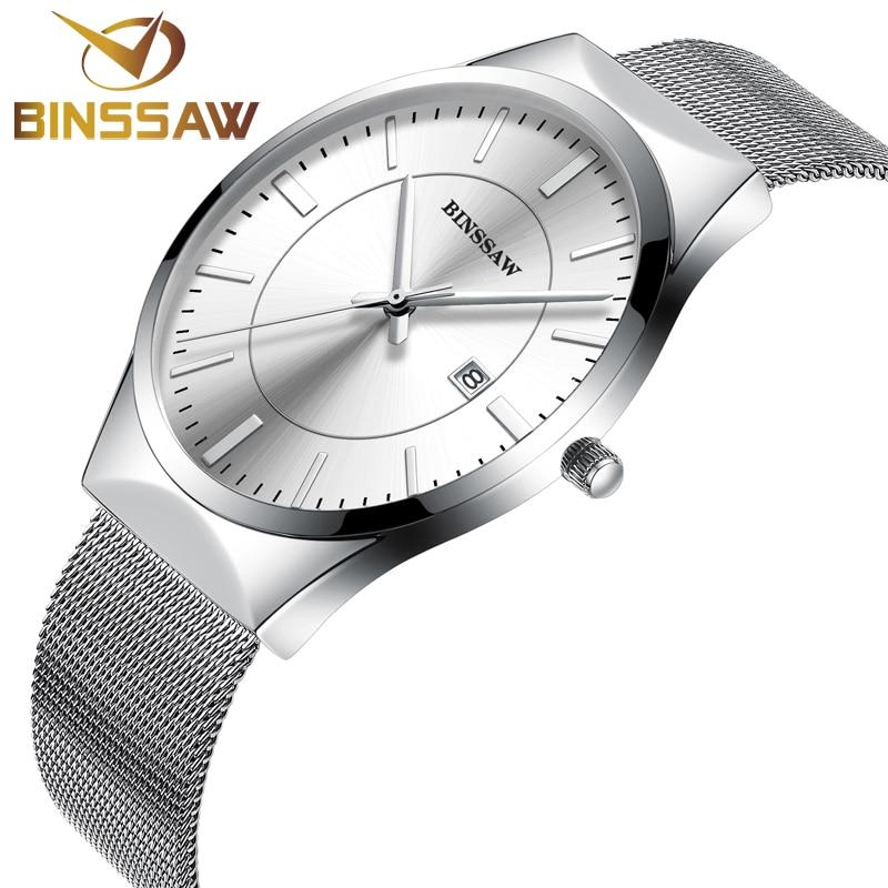 BINSSAW luxury Brand Mens watches dress quartz watch men steel mesh strap quartz-watch Ultra-thin ultra clock relogio masculino<br><br>Aliexpress