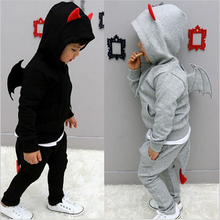 2014 new spring autumn baby boy's set children 3D little devil wing hooed jacket+pants 2pcs clothing set girls costumes clothes