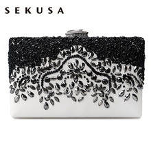 SEKUSA PU Fashion women diamonds luxurious evening bags clutch messenger shoulder chain handbags  purse beaded wedding bag
