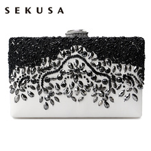 Buy SEKUSA PU Fashion women diamonds luxurious evening bags clutch messenger shoulder chain handbags purse beaded wedding bag for $17.48 in AliExpress store