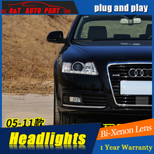 A&T Car Styling For A6 headlights 2005-2011 For A6 LED head lamp Angel eye led DRL front light Bi-Xenon Lens xenon HID