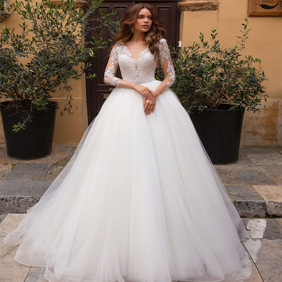 Weilinsha 2019 Ball Gown Wedding Dresses Long Sleeves Applique Bridal Gowns Vestido De Novia Custom Design