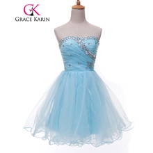 Grace Karin Sweetheart Short Prom Dresses Pink Blue Black White Prom Dress Beading Sequin Ruched Sexy Party Gown CL4503