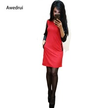 Awedrui Women Autumn New Arrival Dress Casual Black Pu Three Quarter Sleeve Pockets Style  Red Mini Party Dresses