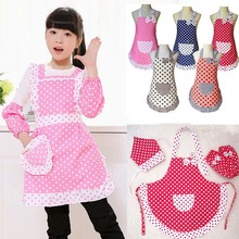 Polyester Kids Apron and Cuffs Child Cooking Baby Apron Junior Chef Cook Apron Painting Apron Family Outings Supplies