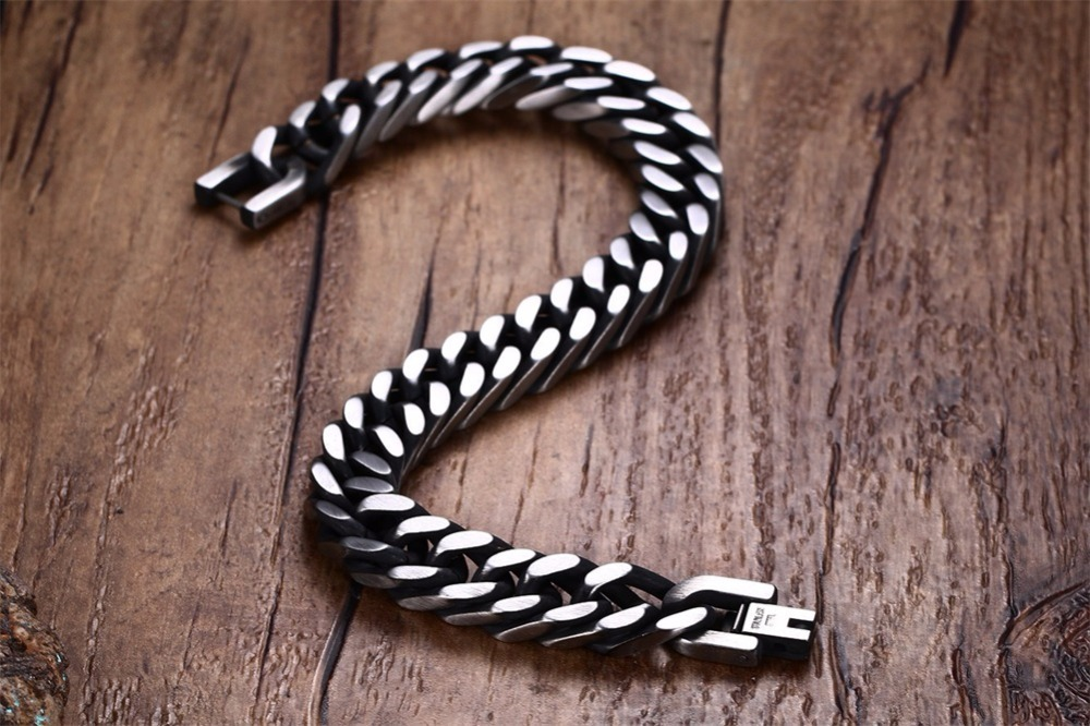 Mens Miami Cuban Thick Link Chain Bracelet for Men 10.5mm Stainless Steel Silver Tone Black Hip Hop Curb Hombre Bileklik Jewelry 15