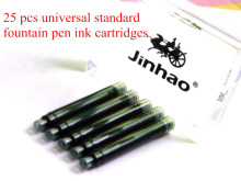25pcs  Jinhao Black Universal Fountain Pen  Ink Cartridges pen  refill