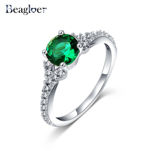 Beagloer Classic Green Stone Rings Silver Color Top AAA Zircon Wedding Finger Rings for Women CRI0216-B