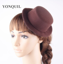 Cute 17CM hen Party Brown Mini Top Hat base Children Women wedding Fascinators Hat Base Wedding DIY accessories Craft 12PCS/LOT(China)