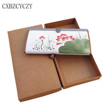 Women Wallet Painting Lotus Flower Wallets Ladies' Long Clutches Coin Phone Purse Female Card Holder With Box Gift Dollar Price
