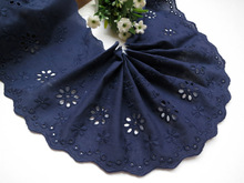 5 Yard/lot Handmade diy clothes accessories lace trim cotton cloth embroidery navy blue 12cm lace fabric(China)