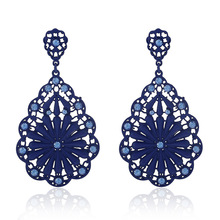 Ethnic Red Long Big Bohemian Flower Women Drop Earrings Blue Wedding Vintage Silver Crystal Earrings For Women Fashion Jewelry