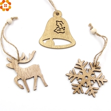 10PCS Christmas Snowflakes&Deer&Bell Wooden Pendants Ornaments DIY Home Christmas Party Decorations Xmas Tree Ornament Kids Gift