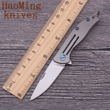 Key ring pocket folding knife D2 blade camping survival key chains fruit knives Titanium Alloy Handles outdoor hunting EDC tools(China)