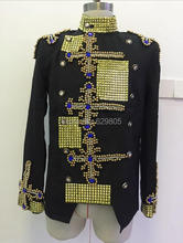 2016 Plus size Fashion Men Jacket Handmade Rhinestone Beads Design Stage Wear Blazer Coat Singer Performance Top Dance Outfit