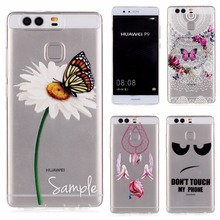 Ultrathin Clear Crystal Phone Case Back Cover For Huawei P9 Case 5.2 inch stylish Flower Pattern Soft TPU For HUAWEI P9 case