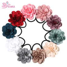 XIMA 1PC 2017 Korean Fabric Rose Flower Hairband Flower Ponytail Holders Hair Ties Women Elastic Hair Band 10 Colors PTH003(China)