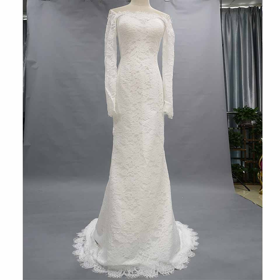 Cheap Lace Long Sleeve Wedding Dresses Mermaid 2019 Vestidos de boda Sexy Bridal Gowns 8100