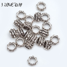 50pcs/lot 6mm/8mm Metal Antique Silver Big Hole Spacer Beads for European Beads Bracelet Jewelry Making hole is 4mm(China)
