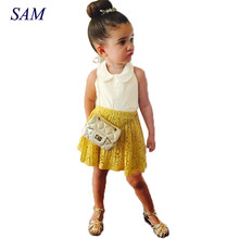 2017 Girls summer clothing sets children's sleeveless vest + Lace hollow skirt 2 pcs suits kids pullover clothes(China)