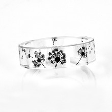 Hot Handmade Dandelion Resin Rings Men Ink Painted Scenery Inside Ring Women Finger Punk Bague Black White Anillos Mujer Jewelry