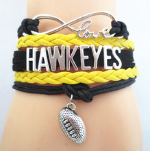 SANDEI Jewelry Infinity Love Hawkeyes football college Team Bracelet black yellow Wristband friendship gifts B09193(China)