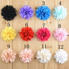 50pcs/lot 3'' Alternative Multilayer Chiffon Hair Flowers Without Clips For Garment Shoes Accessories FH32