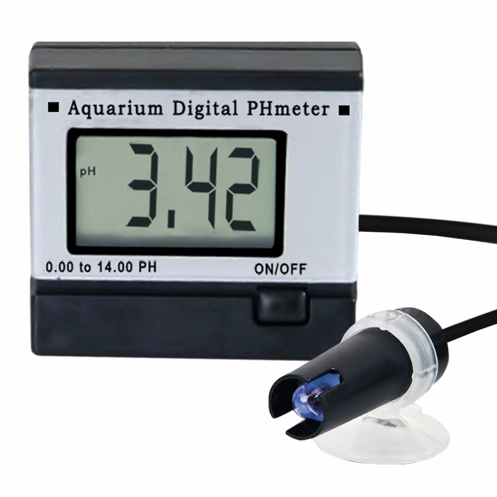 Digital pH Meter Tester Monitor Hydroponics Aquarium with 1M 1Meter Fixed Cable 0.00~14.00pH + 2 Buffer solutions<br>