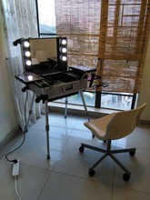 Professional Rolling Makeup Case BeautyTrain Case with Mirror and Lights Lighted Cosmetic Trolley Box Silver