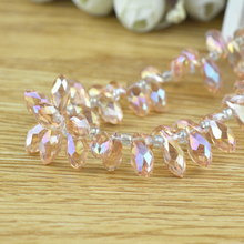 Fit Luxury Cutains Chandelier Light Jewelry Rose Pink AB Crystal Charm Bead 500x 6*12mm Chinese Teardrop Loose Spacer Beads(China)