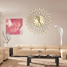 Luxury Diamond Home Large Wall Mounted Metal Clock Living Room Art Office Decor(China)