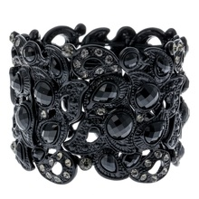 Floral stretch bracelet vintage style flower crystal women fashion jewelry gifts B10 wholesale dropshipping black gold silver
