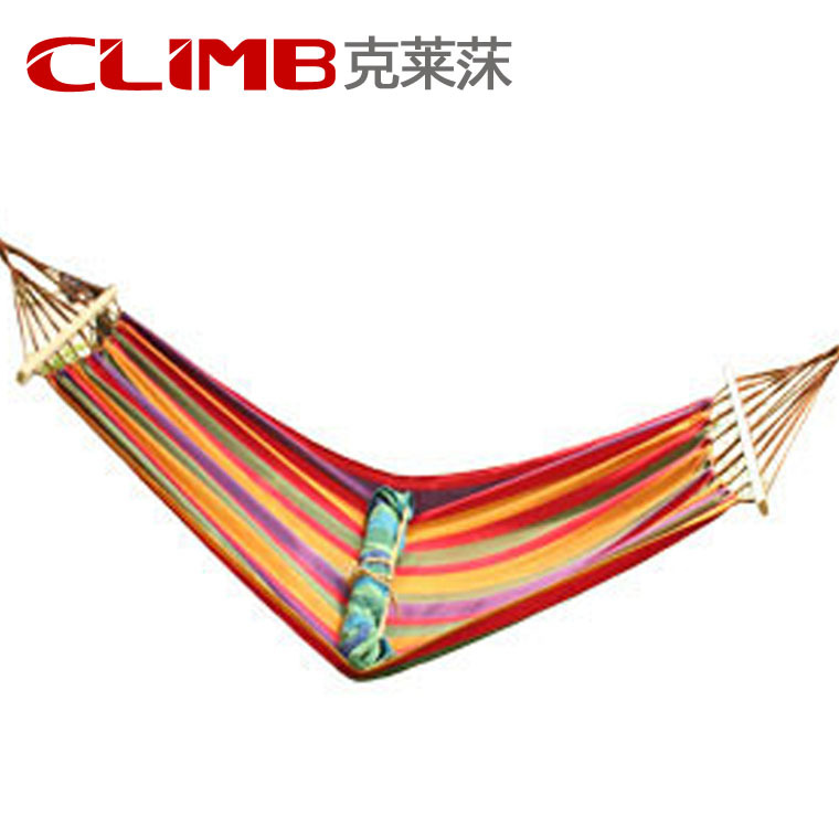 Muti-color Portable Travel Outdoor Camping Tourism Cotton Rope Swing Fabric Stripes Single Leisure Folding Hammock Canvas Bed<br>