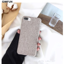 Gimfun Latest Winter Soft Cotton Fabric Phone Case Simple Business plaid Soft Tpu Case for Iphone X 6 6s 7 8 8plus Back Cover(China)