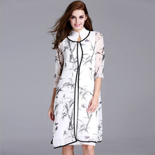 Women Summer Dress 2016 Fashion  Chinese style cheongsam ink printing loose waist sleeve dress