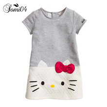 HOT Baby Girls Clothing Hello Kitty 2017 Summer Brand Children Dresses For Girls Princess Dress Cut Cat Grey White Kids Clothes