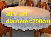 200cm White lace tablecloth tablecover for round table, big size round table cloth