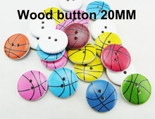 wholesale 20MM (100pcs/lot) Basketbal design wooden buttons for baby hat Garment button  MCB-006