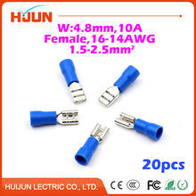 20pcs/lot 4.8 plug Blue Female Quick Disconnect Cable Wire Splice Insulation Terminal Connector 16-14AWG 1.5-2.5mm2 FDD2-187