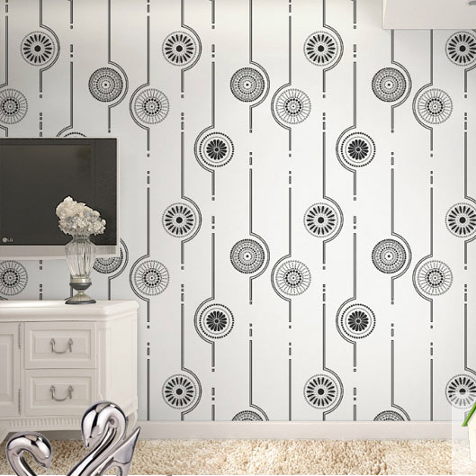 Brand Circle stripe wallpaper black&amp;white non-woven living room bedroom wallpaper TV SOFA background wall paper rolls<br>