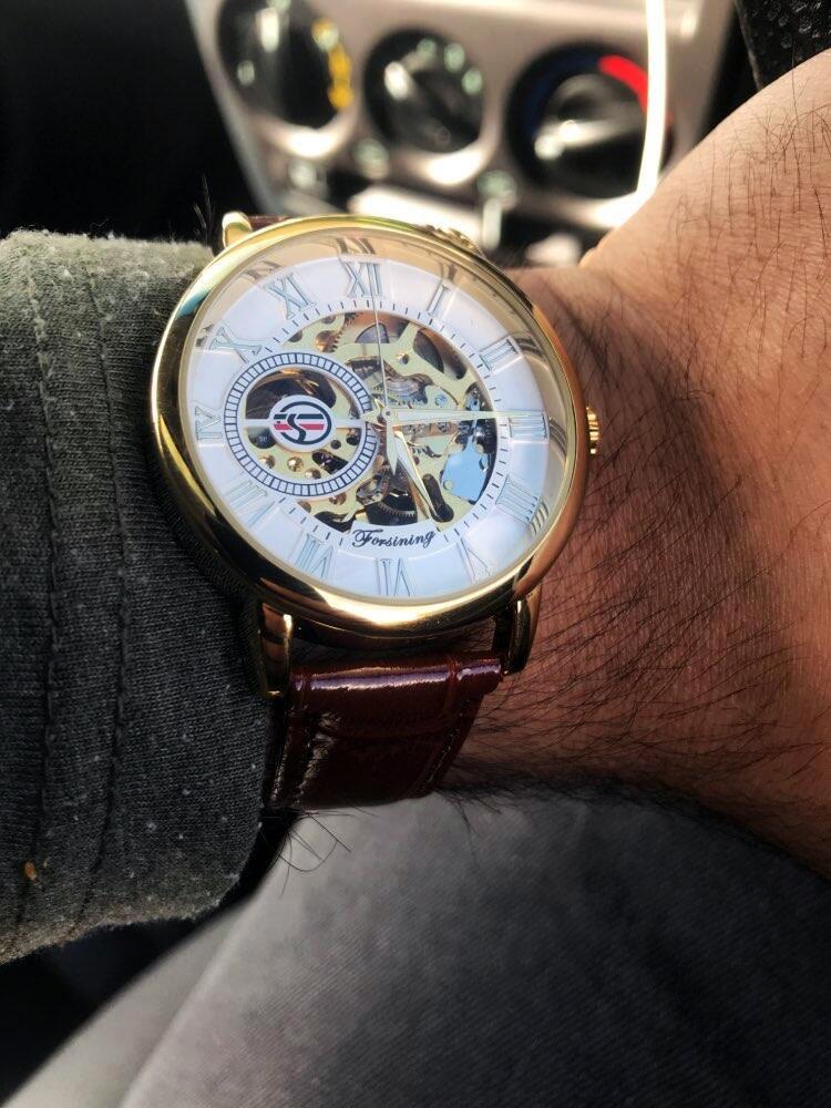 Forsining 3d Logo Design Hollow Engraving Black Gold Case Leather Skeleton Mechanical Watches Men Luxury Brand Heren Horloge 21