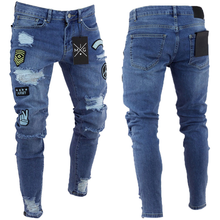 Estilo americano europeo 2018 nuevos hombres elástico Jeans Cartoon Patch  Skinny Jeans Slim Fit moda retro 05db7f7c464
