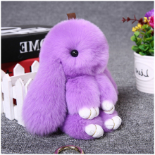 Hot Plush Rabbit Keychain Cute Fluffy Bunny Rex Genuine Rabbit Fur Pompon Hare Key Ring Car Pom Pom Toy Doll Bag Charm For Women(China)