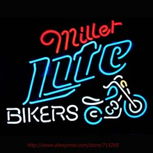 Miller Light Bikers Motorcycle Art Light Neon Sign Neon Bulbs Real Glass Tube Handcrafted Bar Pub Restaurant Advertising 19x15