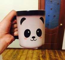 panda mugs(2 sides printed) coffee mug Heat Sensitive mugs cute kawaii cup cold hot heat changing color magic mug tea cups(China)