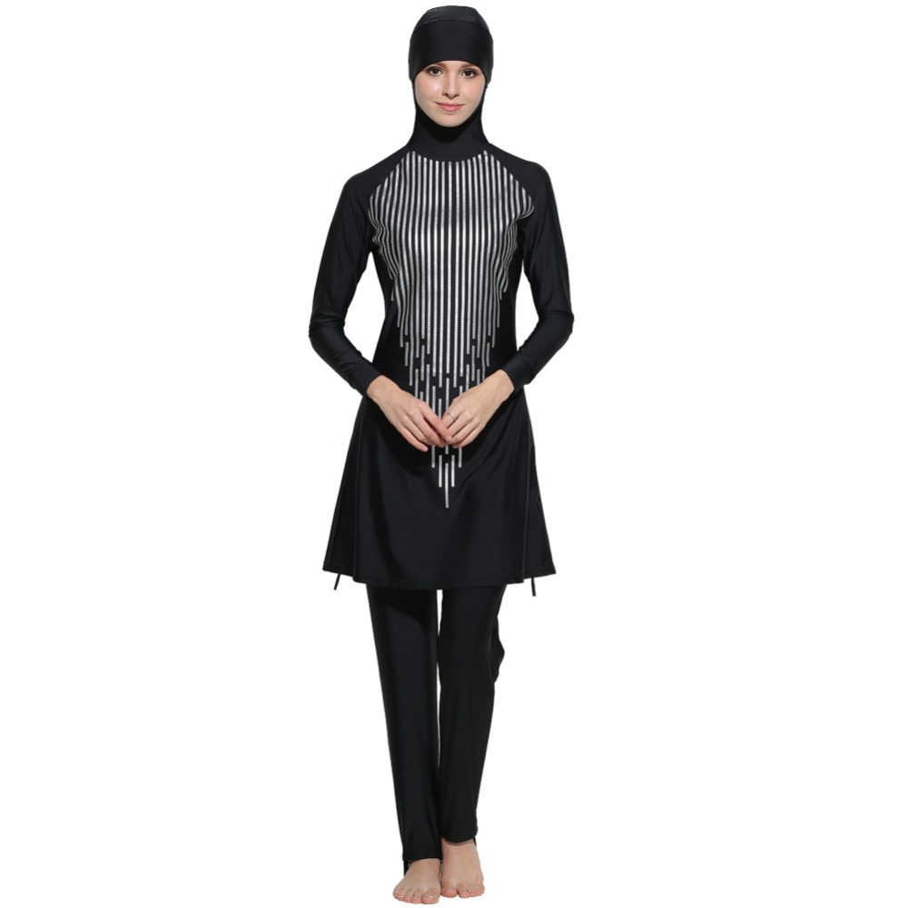 2017 Plus Size Muslim Swimwear Women Full Coverage Islam High Quality Black Swimsuit Arab Beach Wear Maillot De Bain Femme<br>
